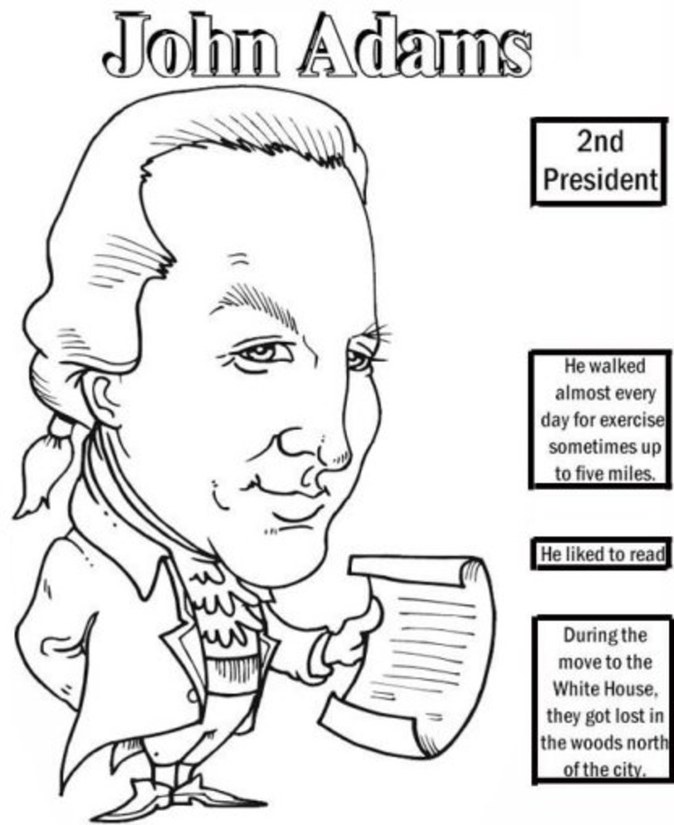 Founding Fathers American Presidents John Adams Kids Coloring Pages with Colouring Pictures to Print