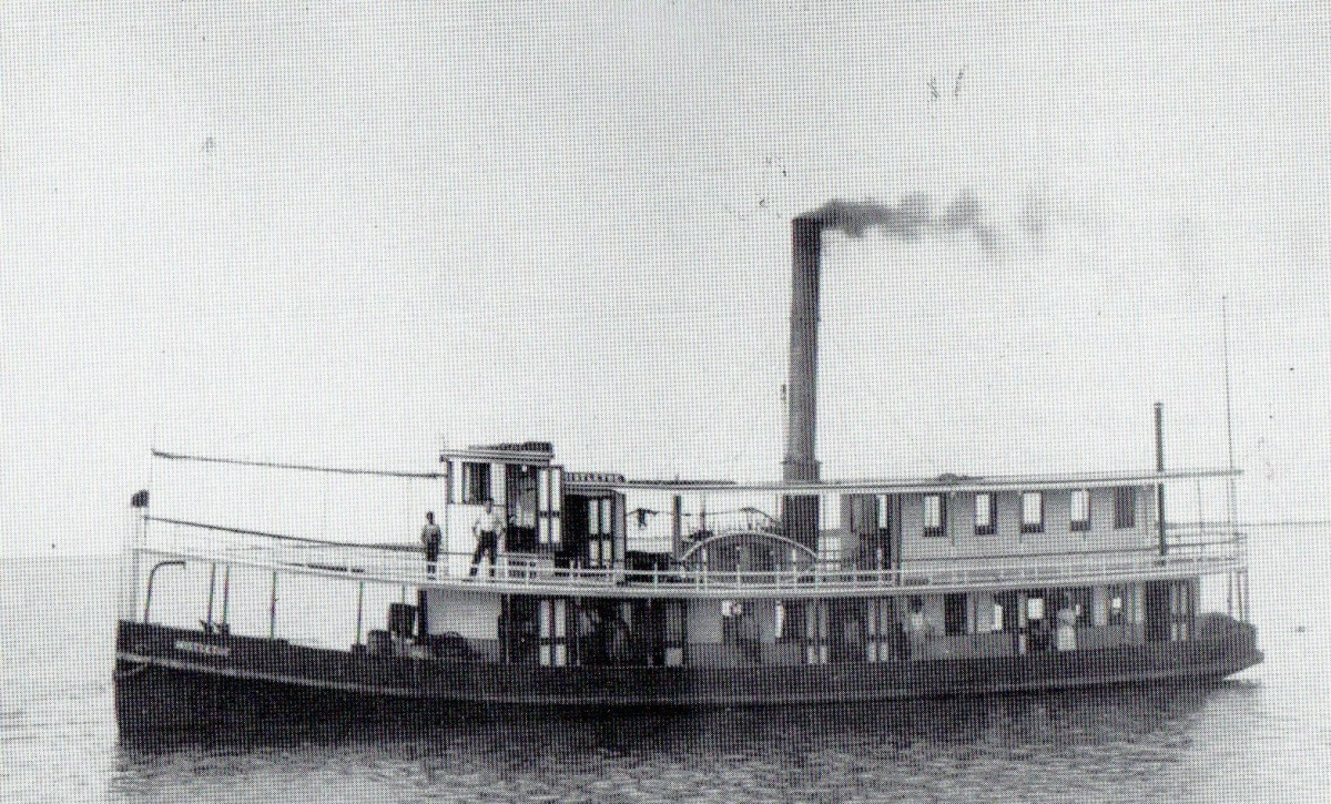 Steamboat service to the island: here is the Mistletoe, Circa 1905