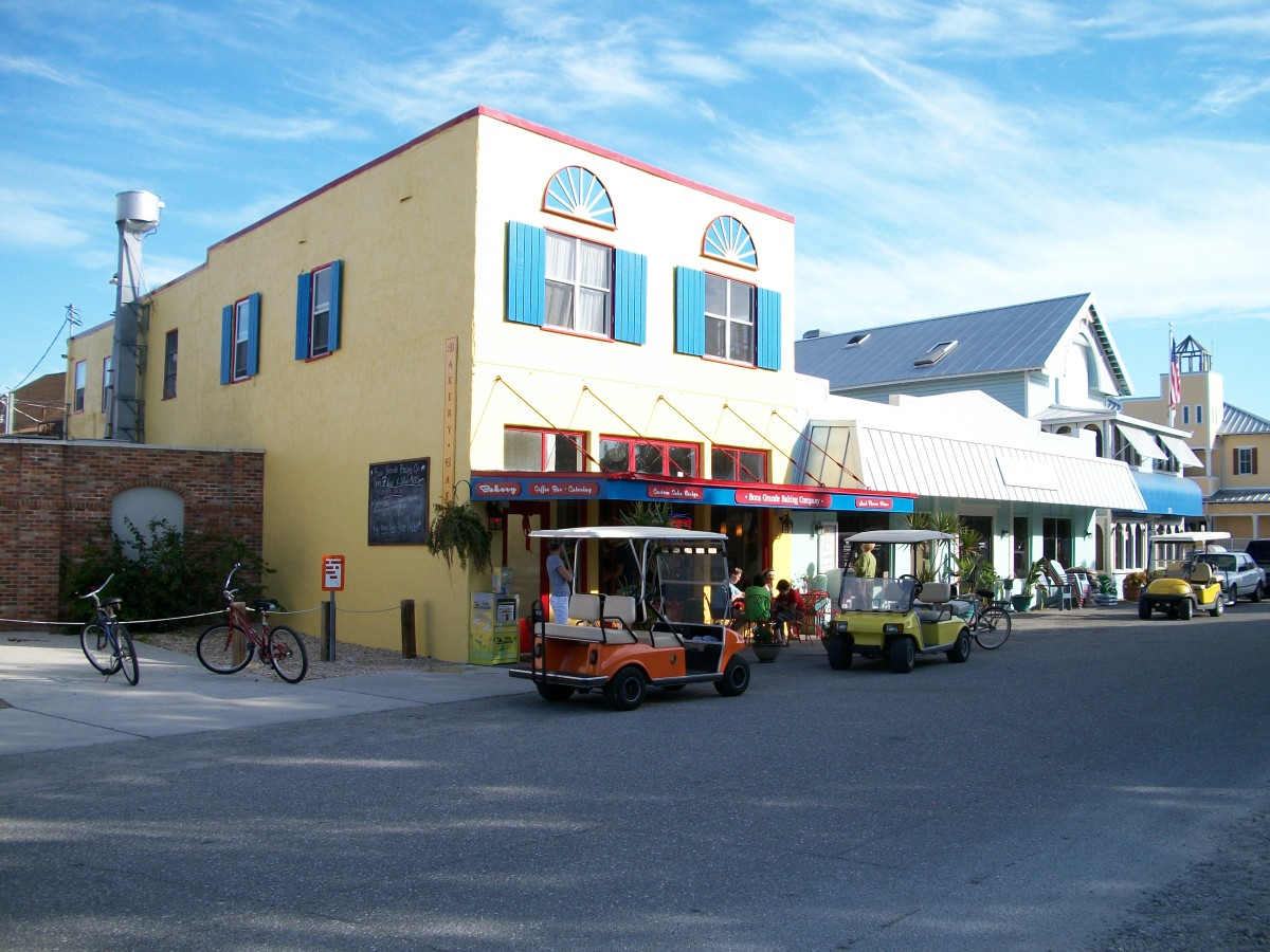 A restored old building, now a bakery and cafe.