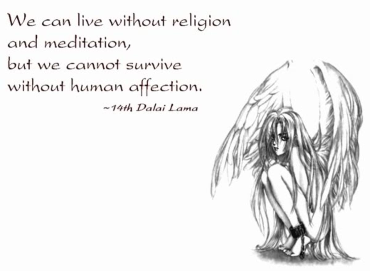 we can live without religion and meditation but we cannot survive without human affection. Dalai Lama