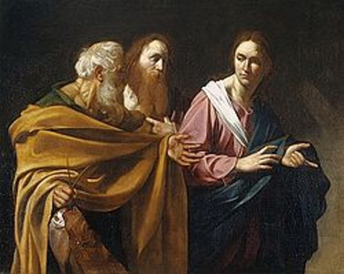 St. Andrew (middle) in Calling of Apostles Peter and Andrew by Caravaggio