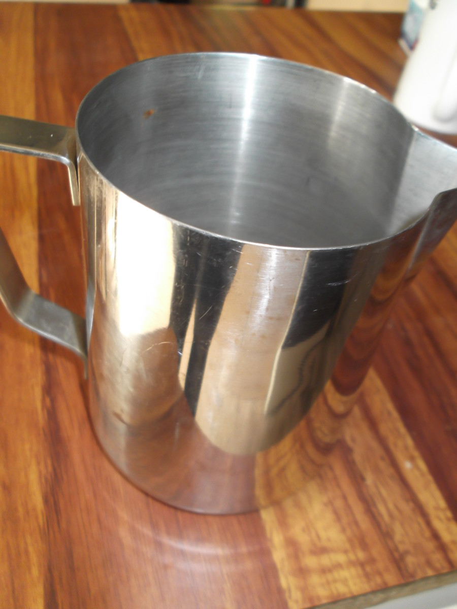 The same jug baristas use when steaming milk for coffee has many uses in an off-grid kitchen.