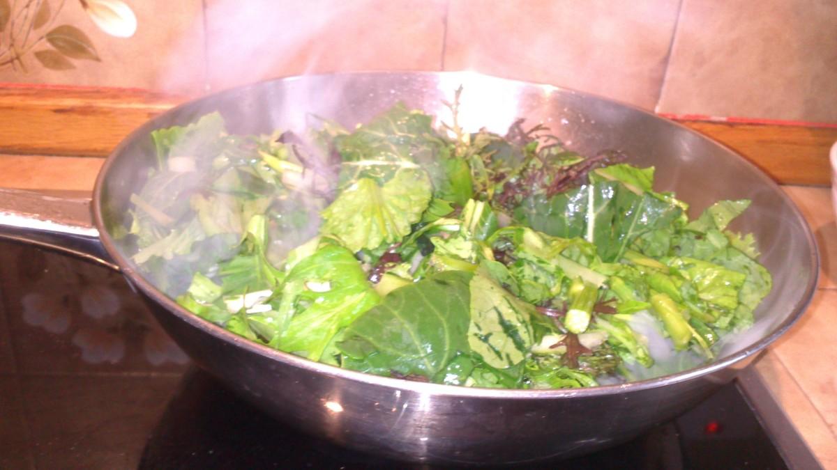 Adding the pak choi
