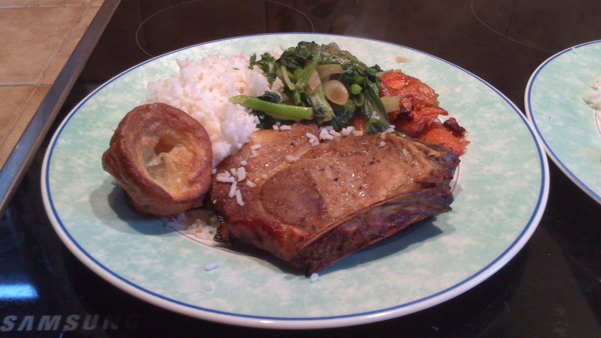 Roasted pork chop with stir fried pak choi