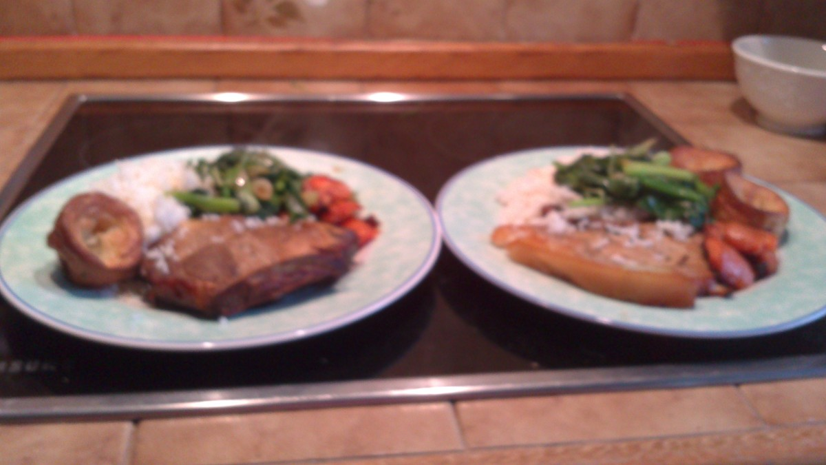 Roasted pork chops with carrots and stir fried Pak Choi
