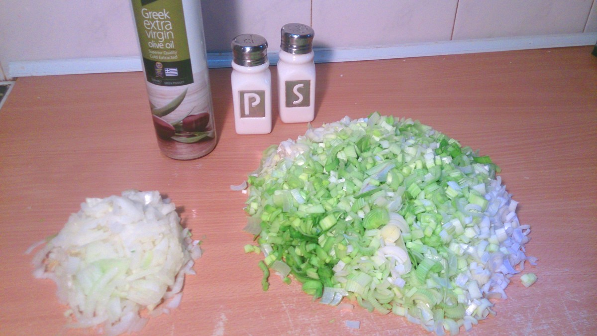 Prepare finely sliced leeks, onion, salt and pepper