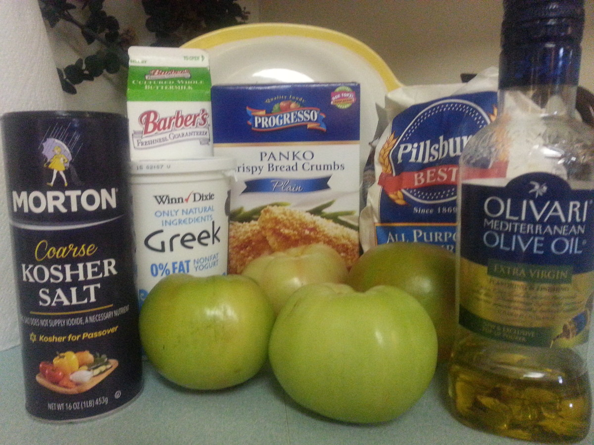 "Ingredients for making ""Baked"" Fried Green Tomatoes"