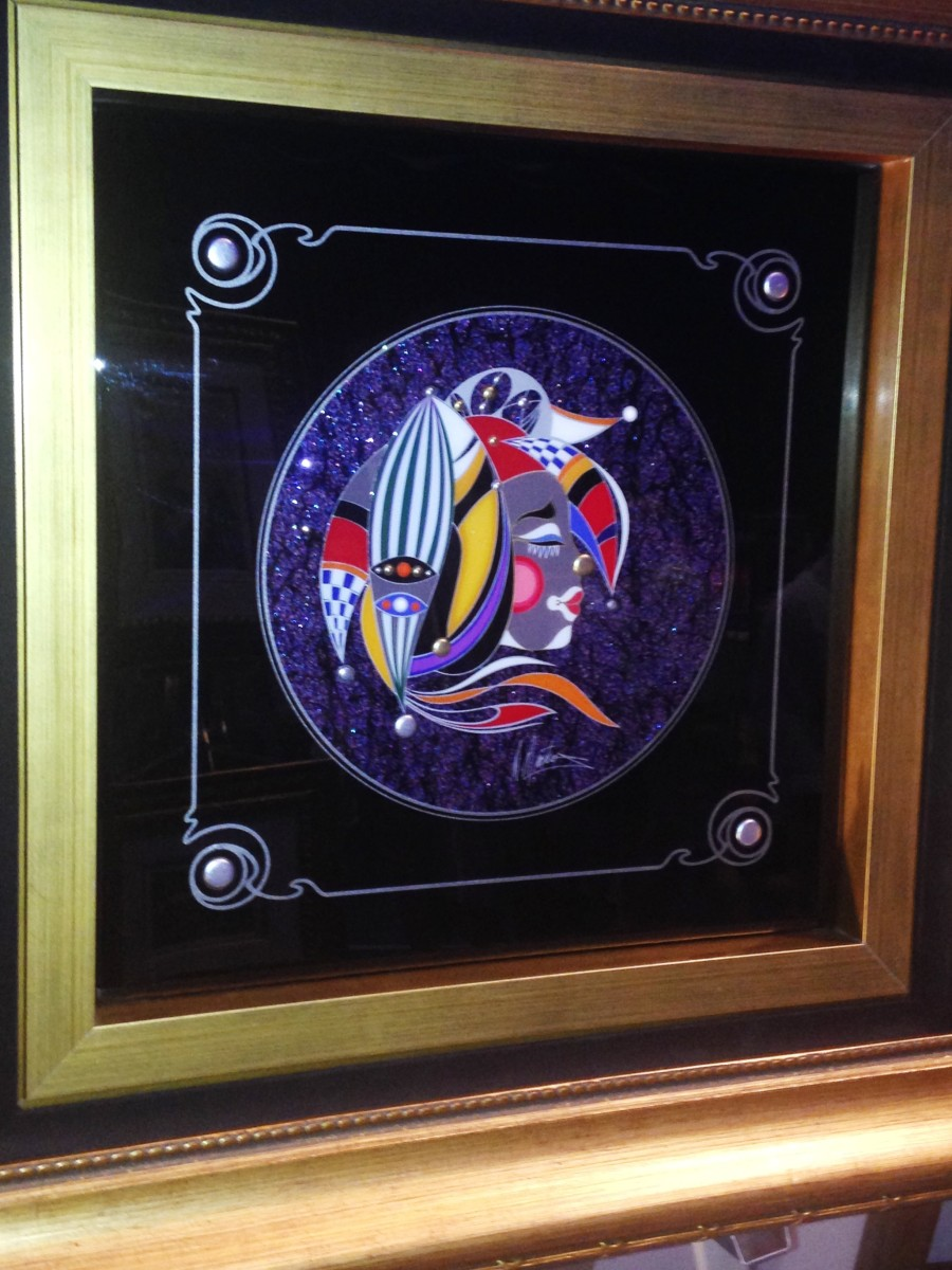 """HARLEQUIN"", MARTIROS, Mixed media painted on board, hand signed, unique variation,  201409 - Royal Caribbean Oasis of the Sea"