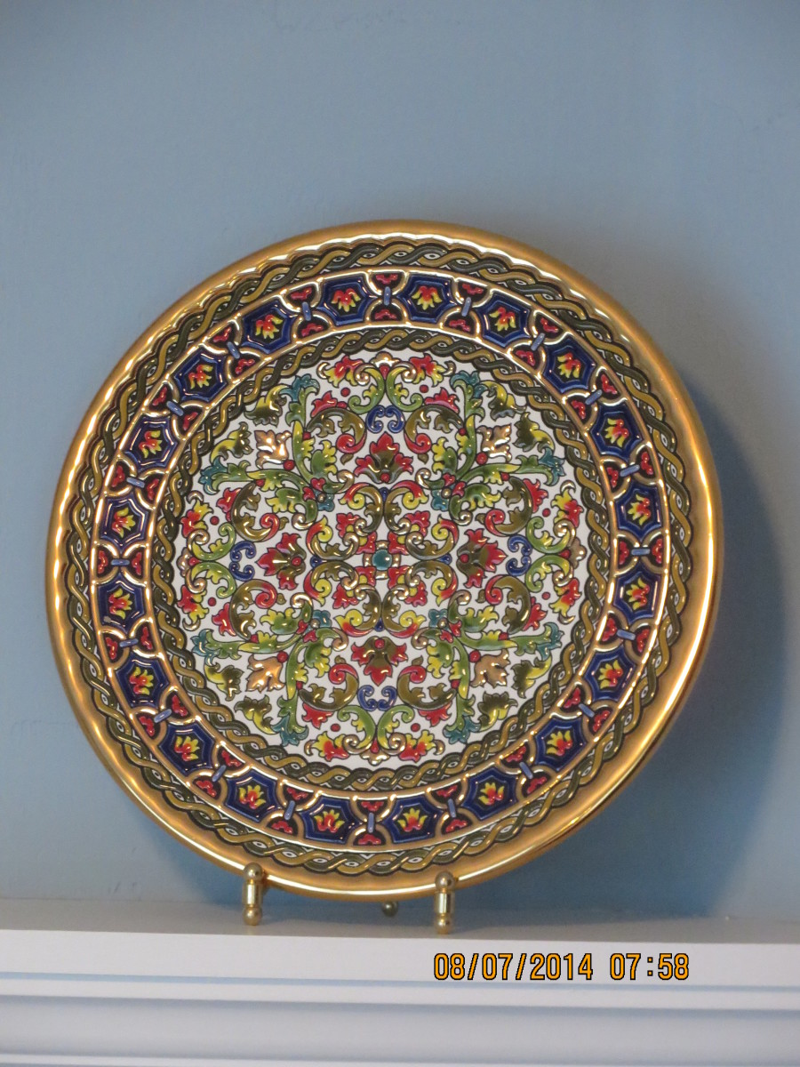 24-karat gold and enamel handmade plate