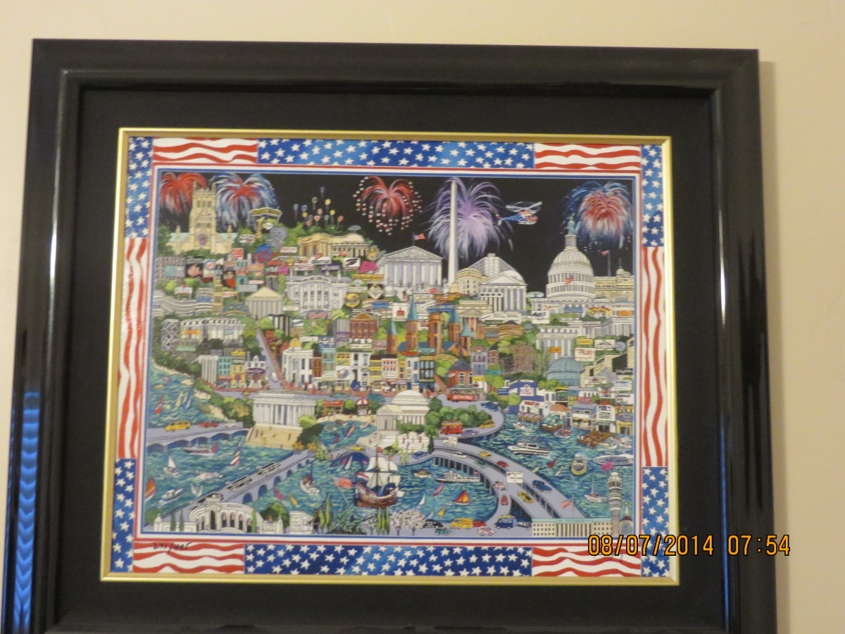 """FIREWORKS OVER WASHINGTON DC"", ROXY, serigraph-giclee on canvas,  201202 - Island Princess"