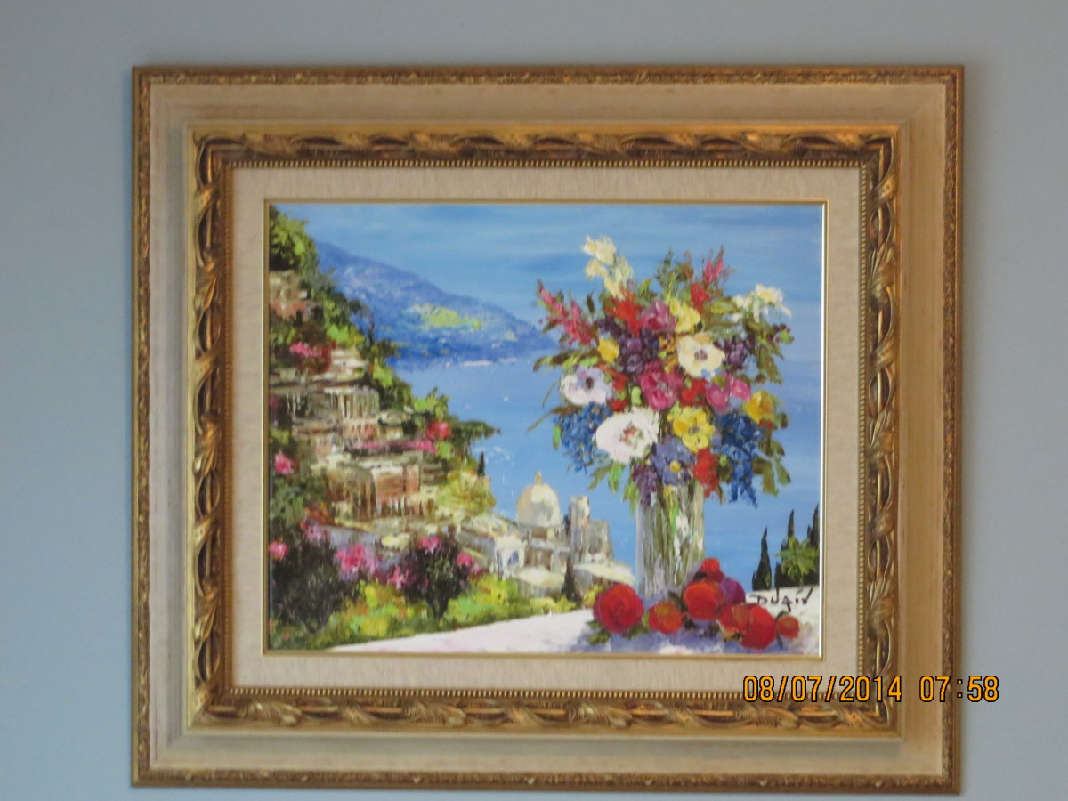 """POSITANO VISTA FLOWERS"", DUAIV, A GICLEE IN COLOR w/ HAND EMBELLISHMENT ON CANVAS, SIGNED (2010)"