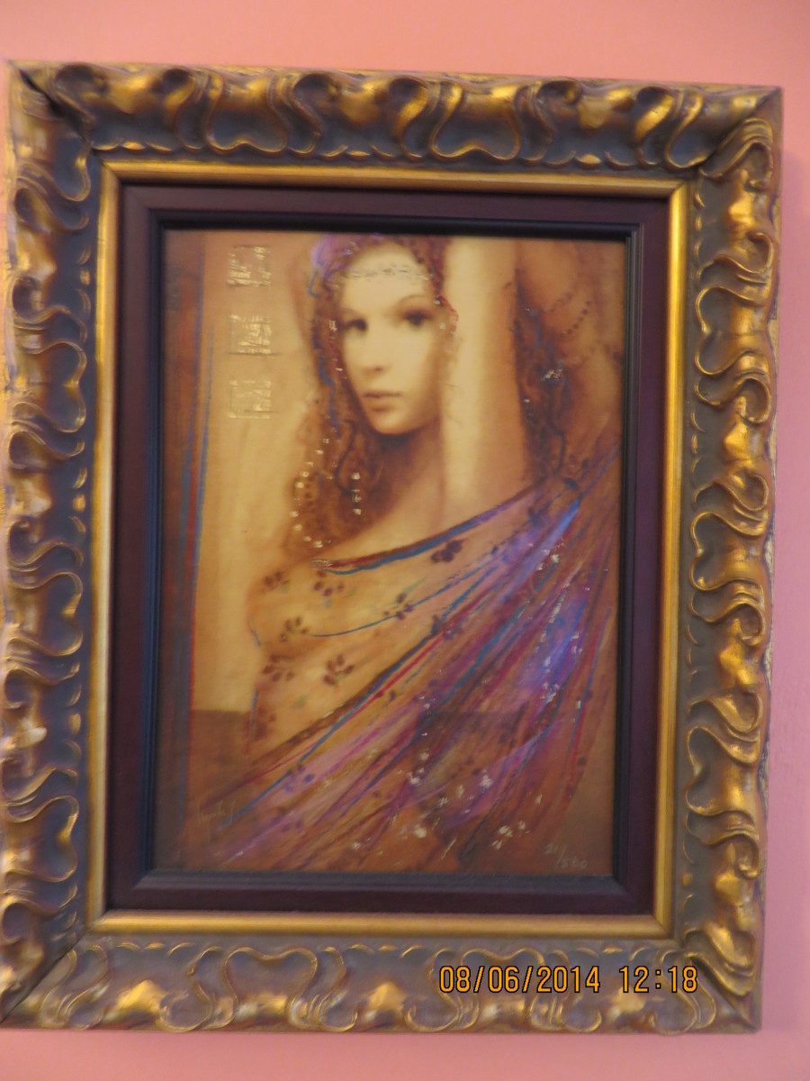 """LA FEMME LA DANSE"", CSABA MARKUS, Hand embellished serigraph in color on wood panel; signed-2006, (Carnival Pride, 2008)"