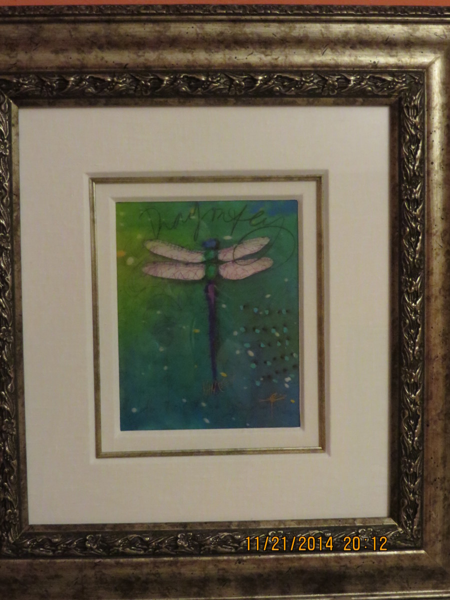"""GREEN SPRING"", Lithograph image viewed through lenticular lens w/ unique embellishment by artist and hand signed in ink.  Royal Caribbean  Oasis of the Seas, 20140820, Tim Yanke"
