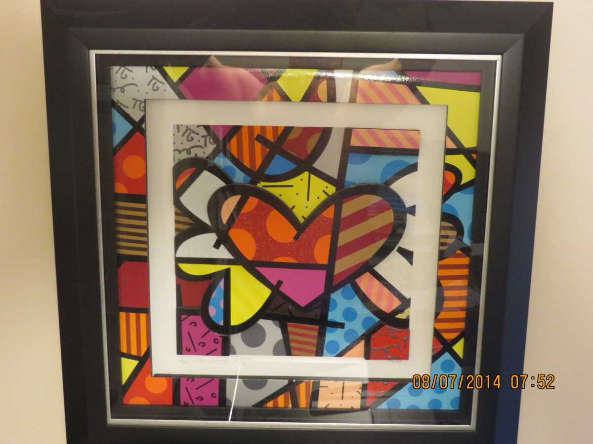 """FLYING HEART"", ROMERO BRITTO, 3-dimensional giclee construction, cut-outs in serigraphy/2007 (Carnival Spirit, 2011)"