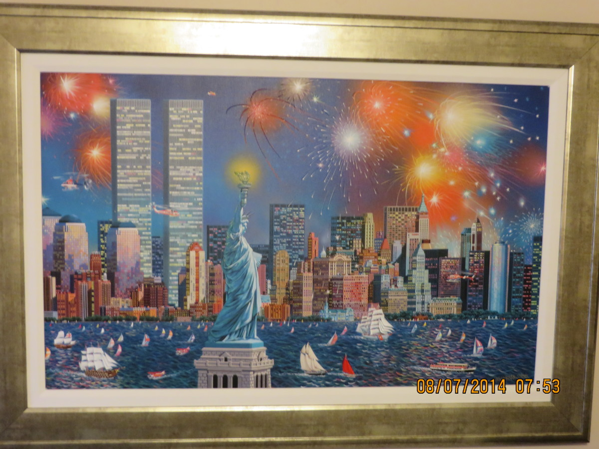 """MANHATTAN CELEBRATION"", ALEXANDER CHEN, Embellished giclee in color on canvas,signed, 2006 (Norwegian Epic 2013)"