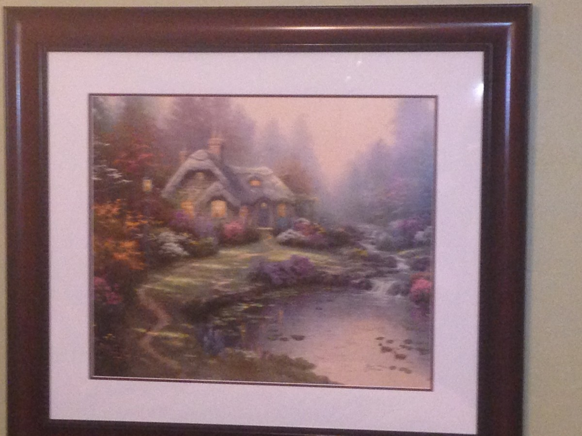 """EVERETT'S COTTAGE""-THOMAS KINKADE: Off-set lithograph, signed with artists DNA matrix signature (1998), limited edition."