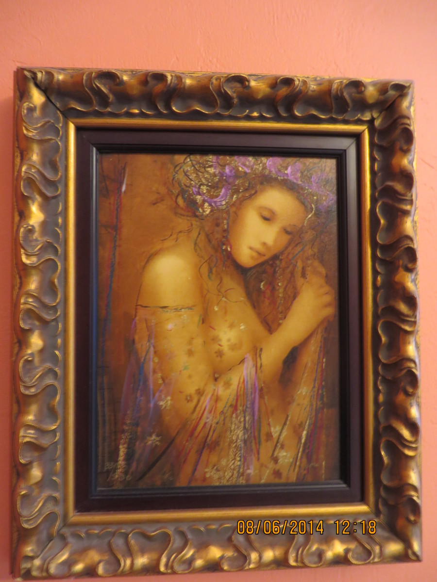 """LA FEMME ADONIA"", CSABA MARKUS, Hand embellished serigraph in color on wood panel; signed-2006, (Carnival Pride, 2008)"