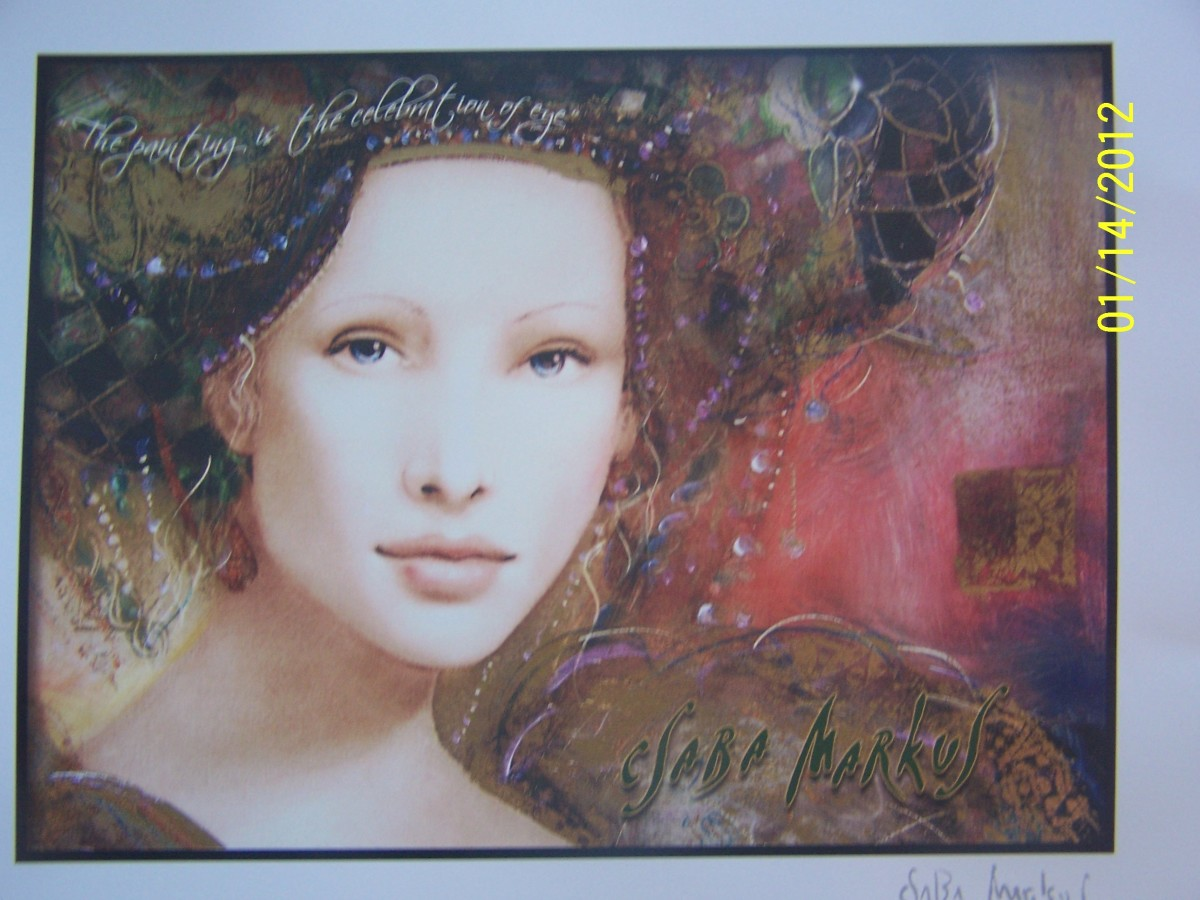 """CELEBRATION OF EYES"", CSABA MARKUS, Hand embellished serigraph in color on wood panel; signed-2006, (Carnival Pride, 2008)"