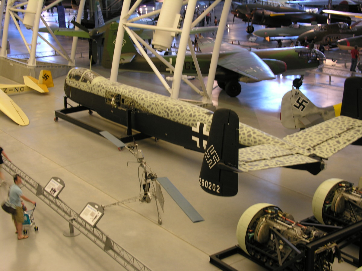 The restored parts of the He-219 on display at the Udvar-Hazy Center, Dulles, VA 2010.