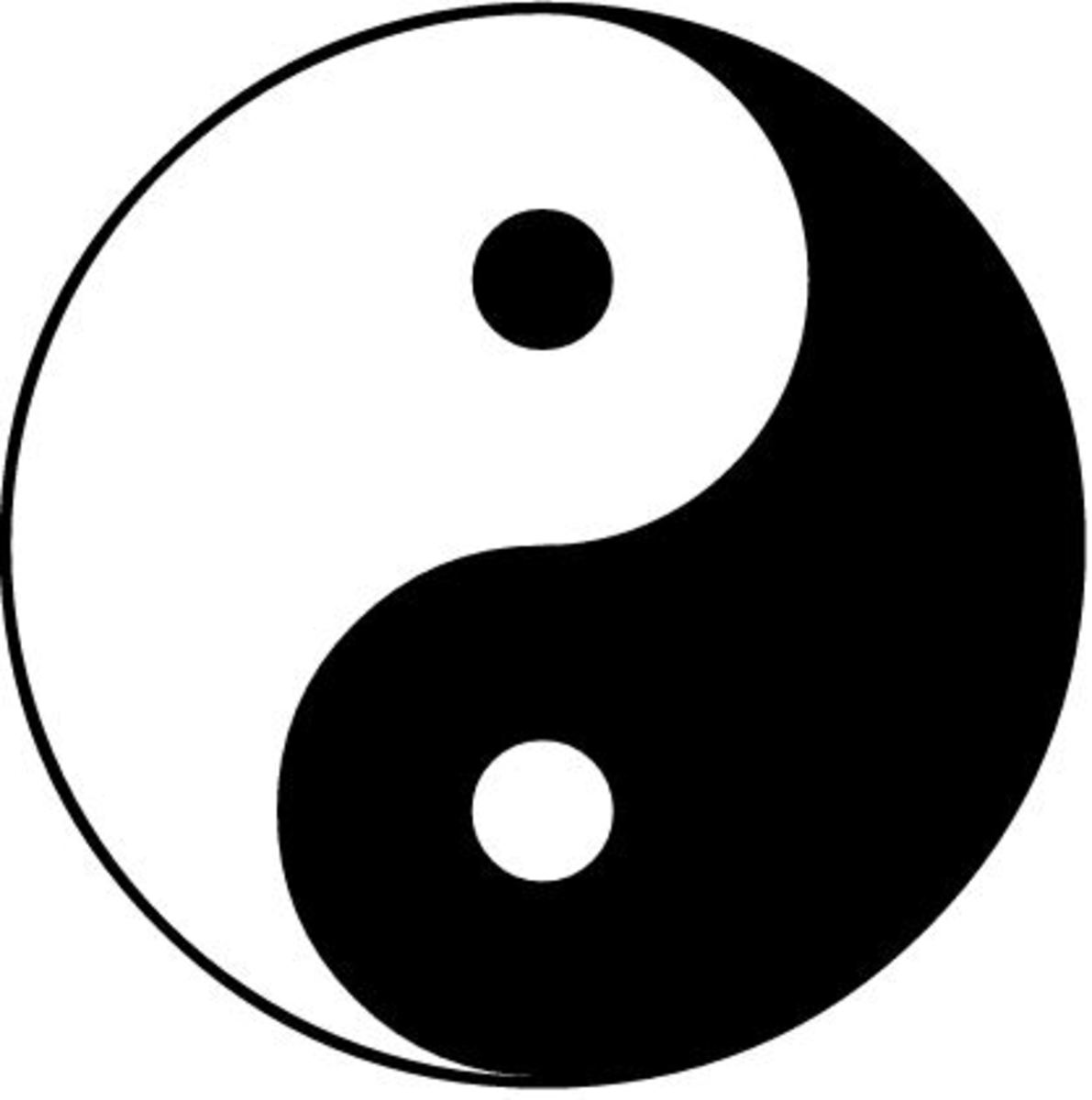 Yin and yang symbol for balance. In Traditional Chinese Medicine, good health is believed to be achieved by a balance between yin and yang.