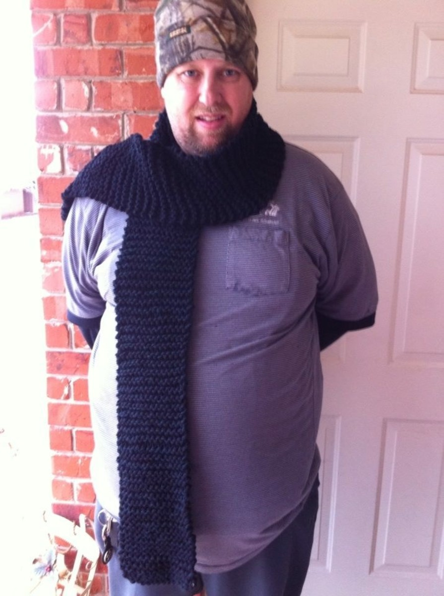 This is an example of a scarf I knitted my husband one Valentine's Day.