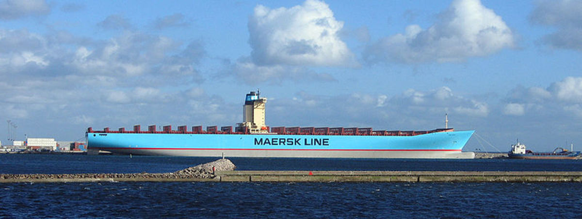 Emma Maersk - currently the largest container ship on earth. Look at how small the ship next to it look. Image credit: Wikipedia Commons.