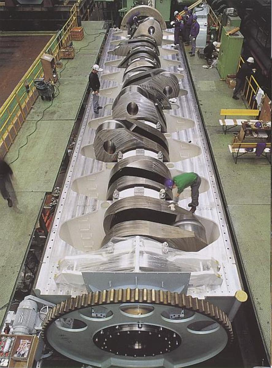 The crankshaft of worlds biggest engine  the crankshaft translates reciprocating linear piston motion into rotation. Compare its size with the size of the man.