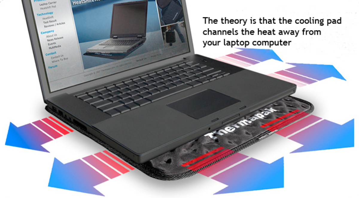 A Laptop cooler pad demonstrating how heat is dissipated from underneath the laptop computer
