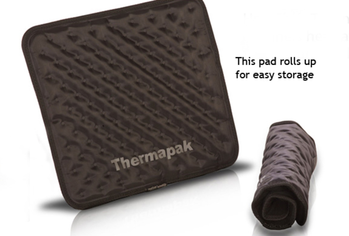 Laptop cooler pad as it would be used, and a laptop cooler pad shown rolled up for storage!