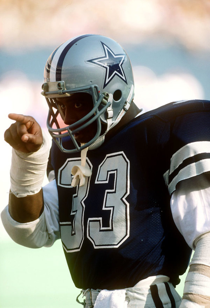 Pro Football Hall of Fame and Cowboys RB Tony Dorsett during an away game Nov1983 a year in which he finished among the league leaders in rushing w/ 1,321 yards. (Photo by Chuck Solomon/NFL)