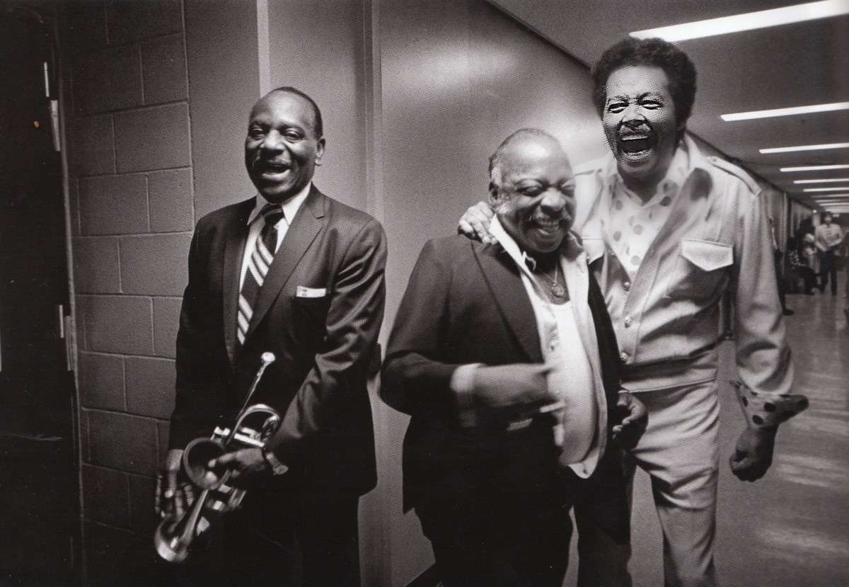Cootie Williams, Count Basie, and Billy Eckstine, backstage at the Duke Ellington tribute, CBS TV studios, Los Angeles, 1972.