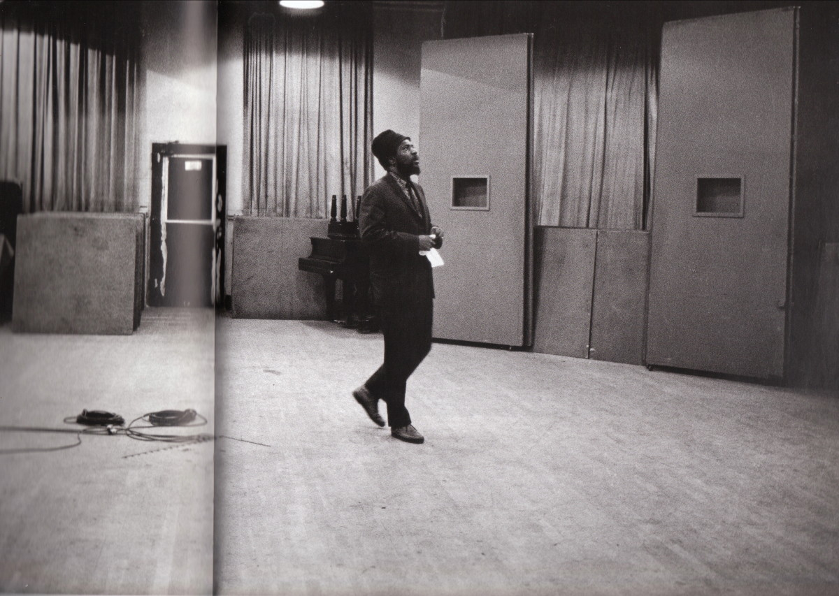 Monk wistfully waltzing around the studio. This picture of Monk listening to the playback was taken around 1962 or 1963.