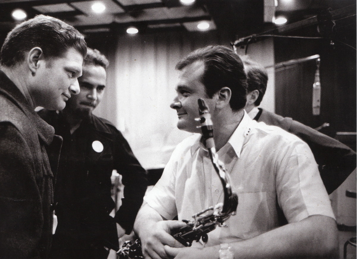 Zoot Sims chatting with Stan Getz during the intermission in 1963.
