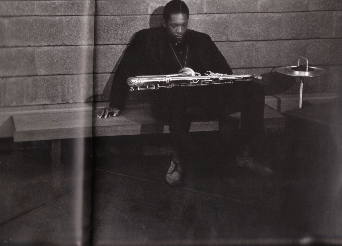 """John Coltrane t Rudy Van Gelder's studio in New York, during the ABC Records' session for Impulse!, in 1963. He was listening to the playback of """"Nancy with the Laughing Face."""""""