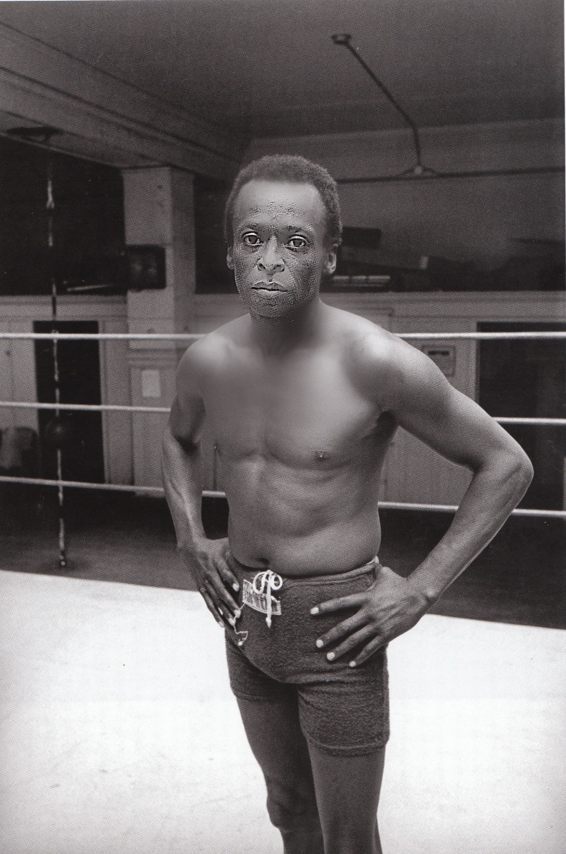 Miles Davis at Newman's Gym on Leavenworth Street in San Francsco, 1970.