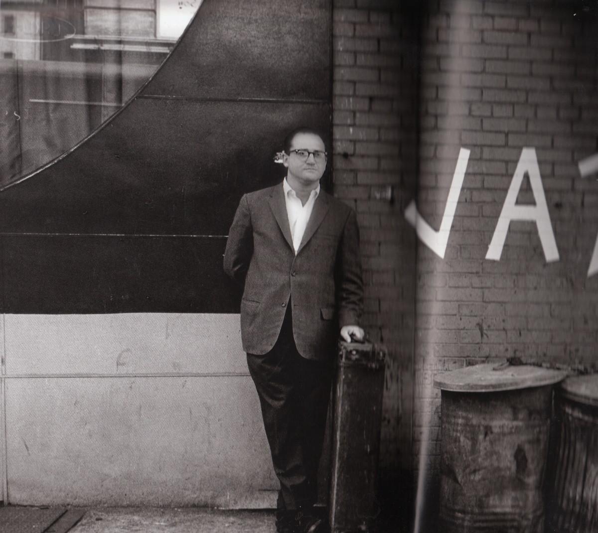 Al Cohn behind a club, New York City, 1963.