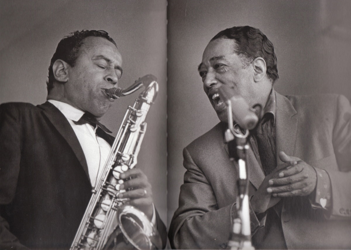 Duke Ellington and Paul Gonsalves at the Monterey Jazz Festival in 1960. The photo was taken during one of Paul's extended solos.