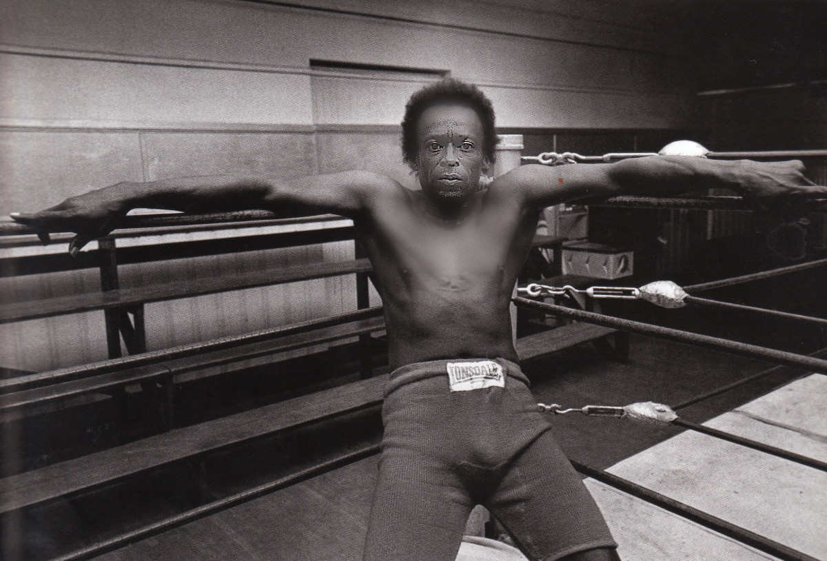 "Miles in the Ring at Newman's Gym in San Francisco in 1971. Miles used to box with guys and he would say, ""Don't hit me in the mouth, I gotta play tonight."""