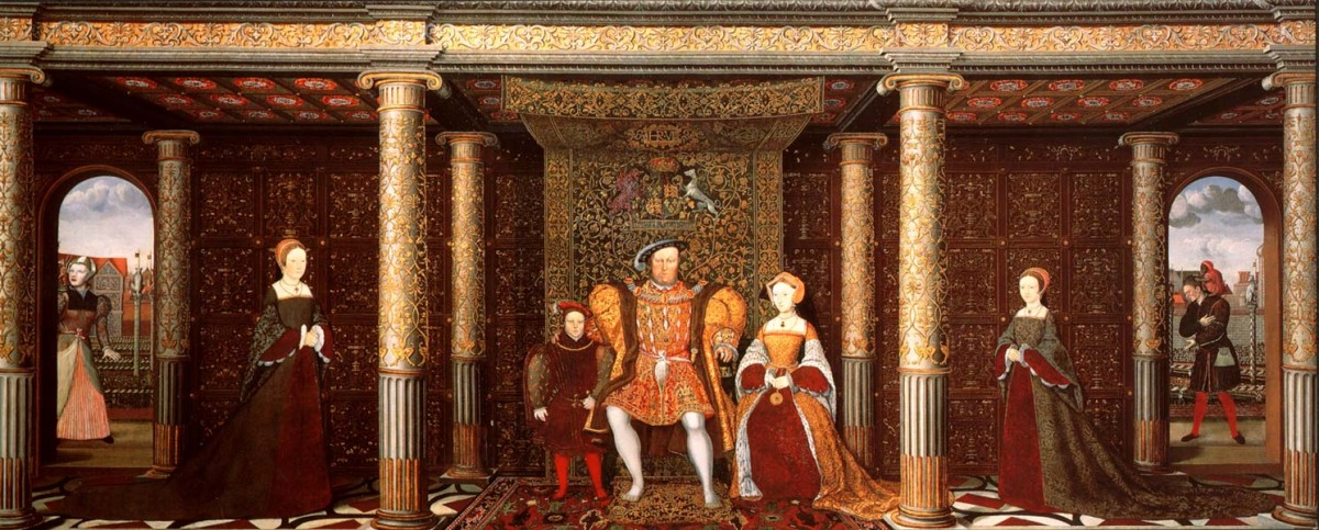 1545 PAINTING OF THE FAMILY OF HENRY VIII (FROM LEFT: MOTHER JAK, WET NURSE OF EDWARD; LADY MARY; PRINCE EDWARD; HENRY VIII; JANE SEYMOUR; LADY ELIZABETH; WILL SOMMERS, COURT JESTER)
