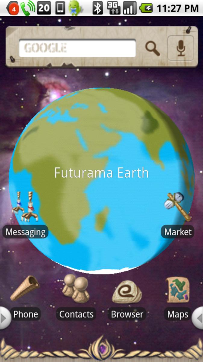 Earth (with Futurama Earth loaded) (running on PandaHome)