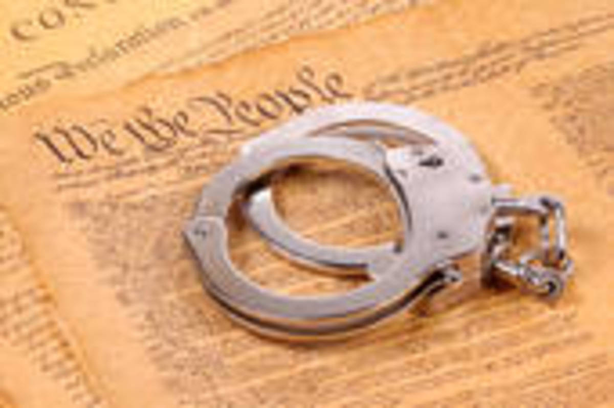 The Constitution has been handcuffed according to the image.