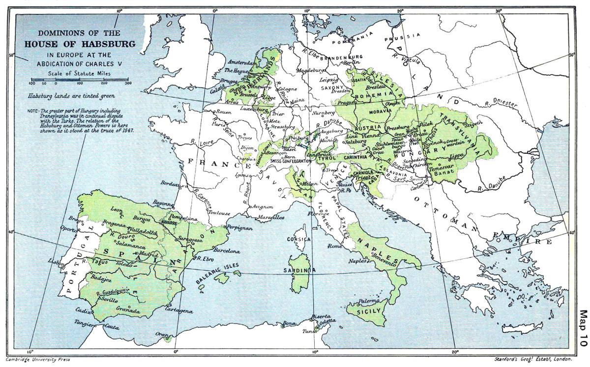 HOLY ROMAN EMPIRE OF THE HAPSBURG EMPEROR CHARLES V IN 1547
