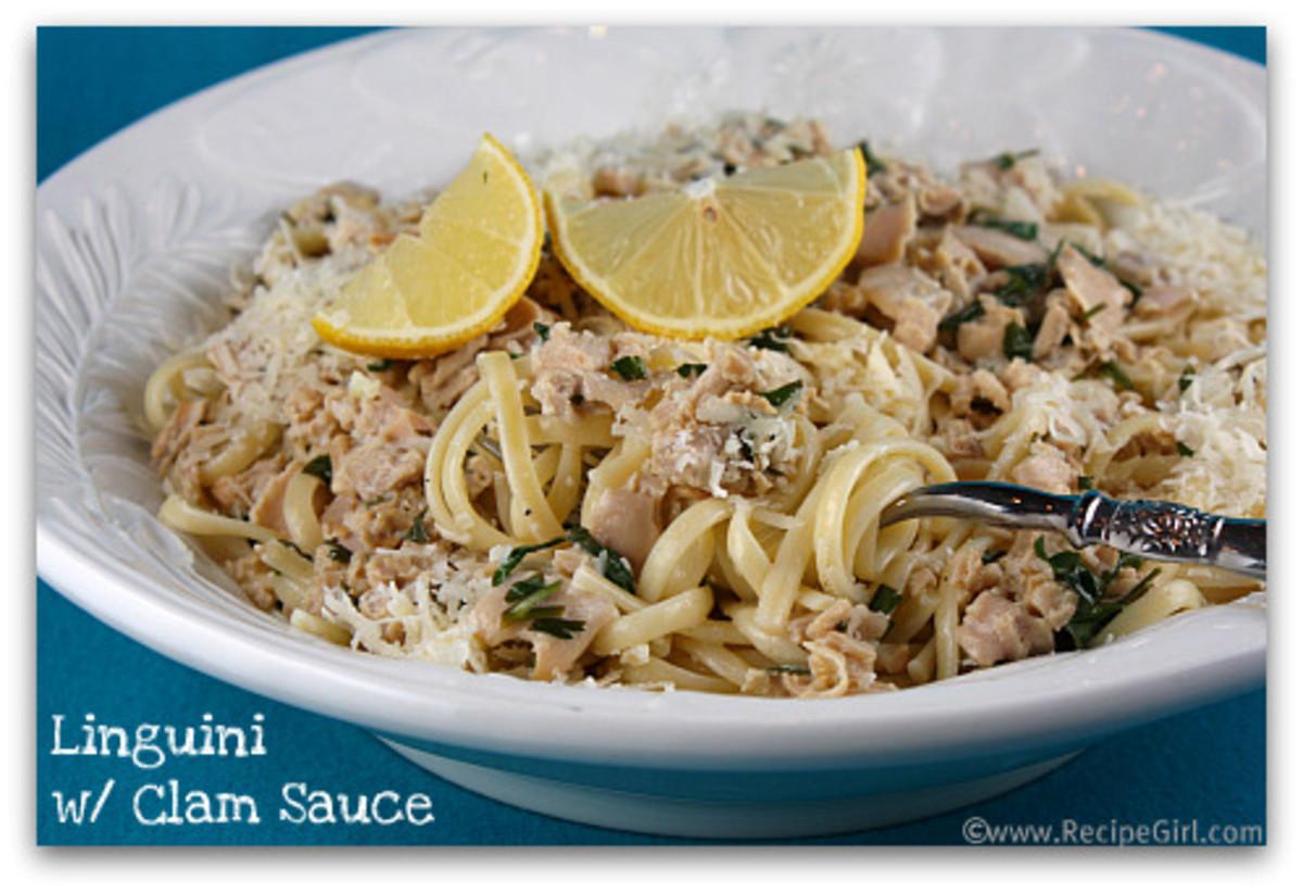 Linguini with White Clam Sauce RecipeGirl.com photo