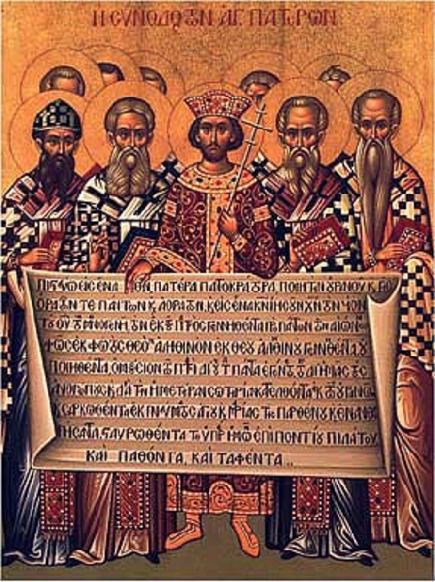 Icon showing the Council at Nicaea which drafted the famous Creed
