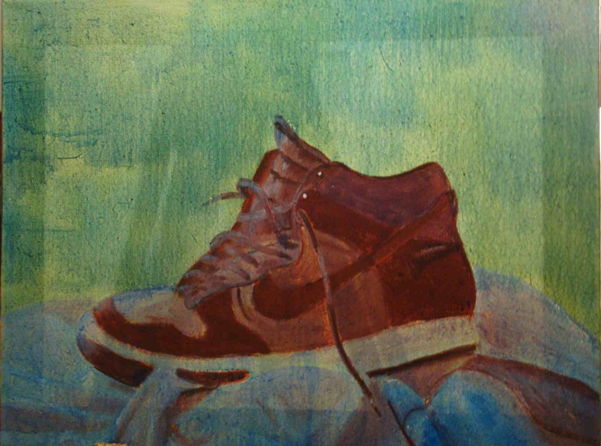Completed glazing exercise (Notice how the yellow background has turned green using blue glaze as well as the alteration of the color on the shoe).