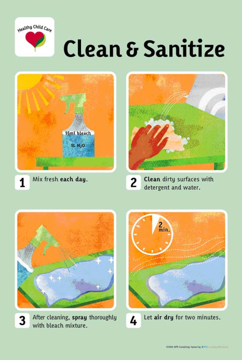 Cleaning and Sanitizing poster in colorful orange blue and green - Download