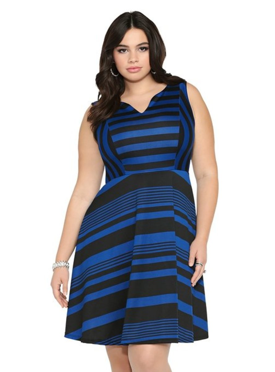 Torrid Plus Size Stripe Skater Dress