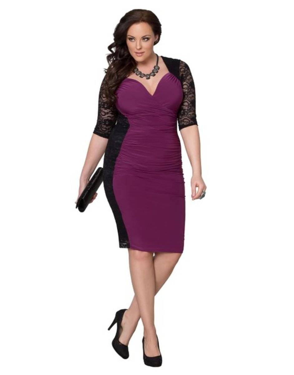 The silky stretch fabric on the front of the dress elegantly flatters your curves while the ruching in the mid-section masks any tummy troubles.