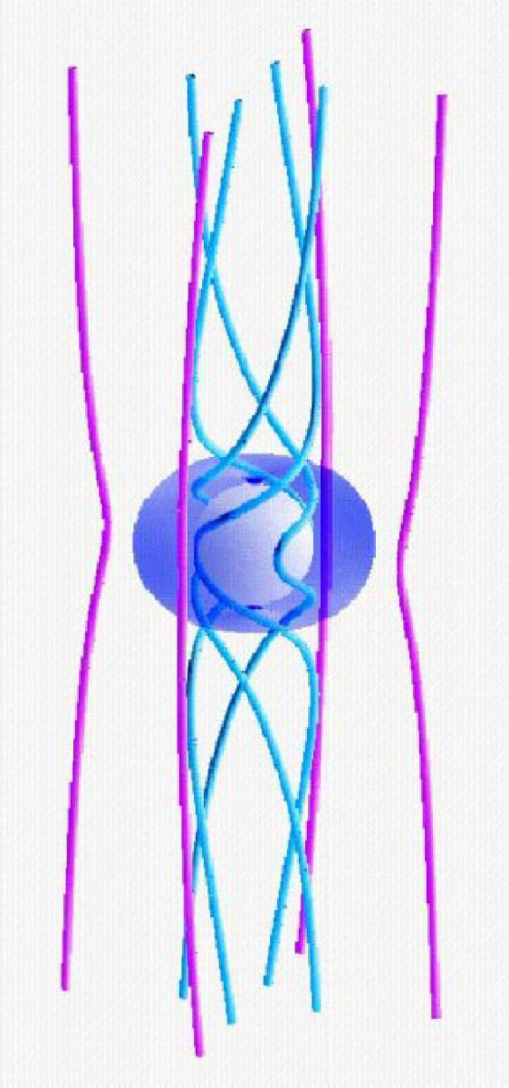 Natural magnetic collimation occurs near dense, rapidly spinning objects like neutron stars.