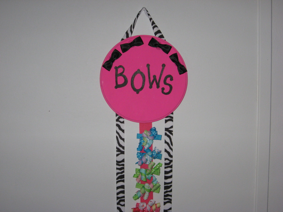 Zebra themed bow holder